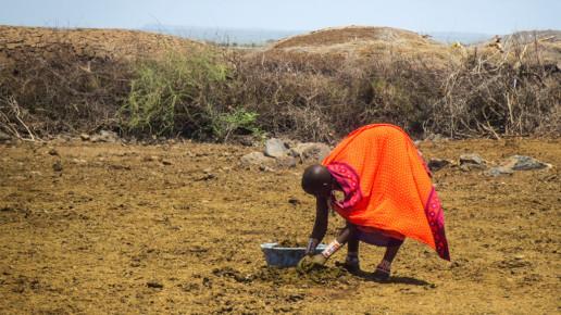 kenyan woman beginning to prepare hut