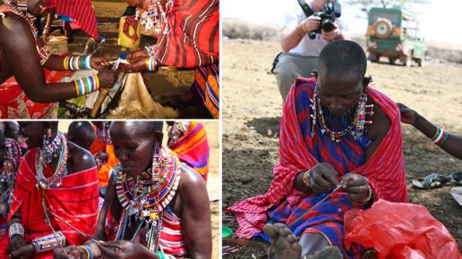 Kenyan women creating beaded necklaces