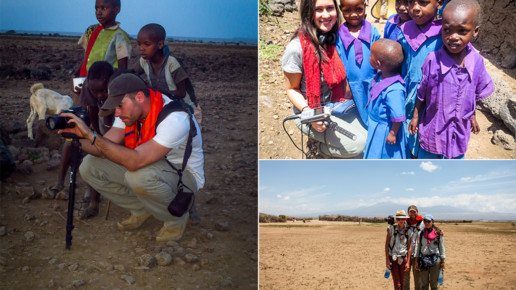 film crew with kenyan children