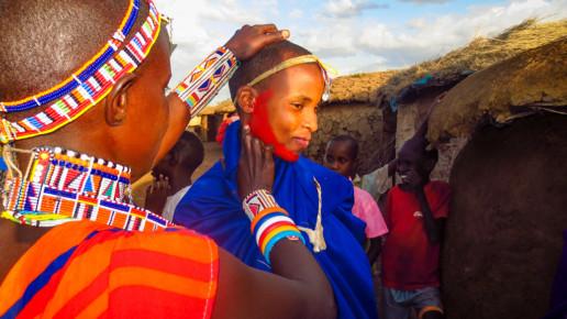 Kenyan Woman Red Face Paint
