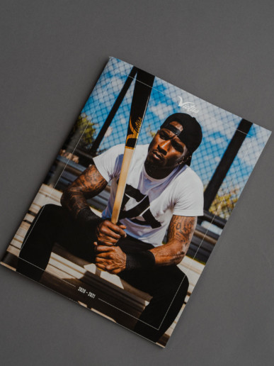 Back cover of the Victus Sports Product catalogue featuring Tim Anderson